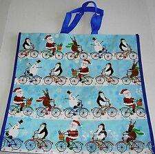 """Christmas Reusable Tote Bag 19""""x18""""x7"""" CHRISTMAS BIKE RIDE"""