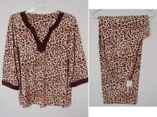 $59 Charter Club 2pc Pajama Set women M Top Pants Leopard brown 3/4 sleeves NWT