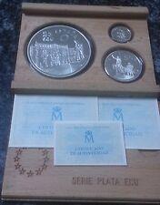 Estuche 3 monedas de 1, 5 y 25 ECU año 1994. CERVANTES. Plata.