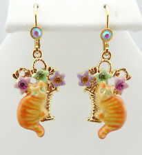 KIRKS FOLLY TIGER RED CAT LEVERBACK EARRINGS GOLDTONE  CUTE KITTY~~NEW RELEASE~~