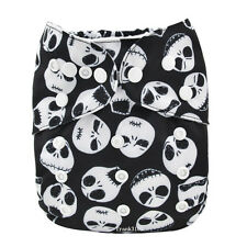 Jack Skeleton Skull Baby Cloth Diaper Nappy Reusable Washable Adjustable Pocket