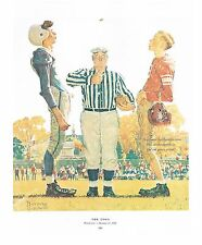 "Norman Rockwell FOOTBALL print ""THE COIN TOSS"" 11x15"" High School Boys Sports"