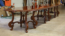 High end 15' mahogany traditional 3 pedestal formal dining table seats 12-14