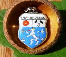 VINTAGE 800 SILVER enamel SAARBRUCKEN Germany shield CHARM (C-012)