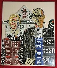 American Gothic Huge Recycled Handmade License Plate Wall Folk Art Matt Black
