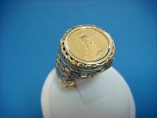 14K YELLOW GOLD MEN'S COIN LARGE RING, 14.7 GRAMS, SIZE 11.5, 5 DOLLARS COIN.