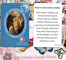 Saint St. Andrew Avellino with Prayer  - Relic Paperstock Holy Card
