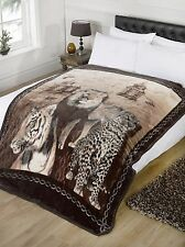 Super Soft Wildcat Faux Fur Mink Fleece Blanket Throw Bedroom Lion Tiger Leopard