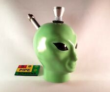 Ceramic Tobacco Pipe - Green Alien Bong - Mini Hand Smoking Pipe With 5 Gauzes