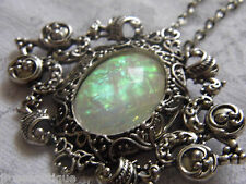 #JRK903 Opal Rainbow Necklace Brooch Pendant Victorian Edwardian ART DECO Silver