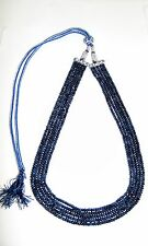 NATURAL SAPPHIRE ROSARY 3 M.M ROUND BEADS NECKLACE 5 LINE GEMSTONE JEWELRY