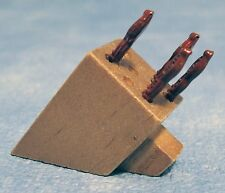 Dolls House Miniature 1/12th Scale Wooden Knife Block with 4 Fixed Red Knives