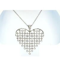 1.15 CT REAL ROUND DIAMOND DESIGNER HEART PENDANT IN 18K WHITE GOLD HALLMARKED