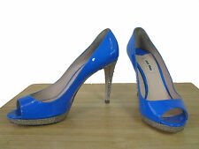 NIB MIU MIU BY PRADA BLUE PATENT GLITTER PLATFORM OPEN TOE PUMPS 40