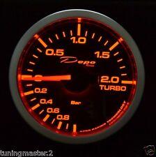 Manometro Strumento Pressione Turbo Depo Nero 52mm Motorizzato Ambra  Bianco