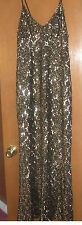 FUNKY Women's Black Gold Sequins Sleeveless Long Formal Gown Dress Size 11