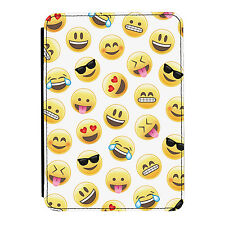 Emoji Pattern Smiley Face Fun iPad Mini 1 2 3 PU Leather Flip Case Cover