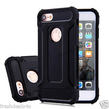 For Apple iPhone 7 Heavy Duty Hybrid Rugged Rubber Case Hard Cover Skin - Black