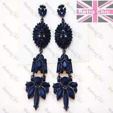 "BIG 3""long SAPPHIRE DARK BLUE vintage style CHANDELIER EARRINGS gunmetal black"