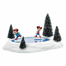 Dept 56 Disney Christmas Village Mickey & Minnie Mouse Animated Pond 4054847 NEW