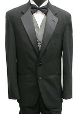 Mens Black Kenneth Cole Two Button Tuxedo Package Prom Wedding Formal 48XL