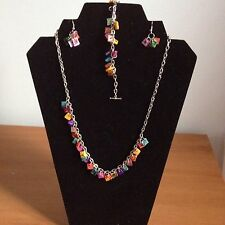Pretty And Vibrant Multi Coloured Square Shell Necklace Bracelet And Earring Set