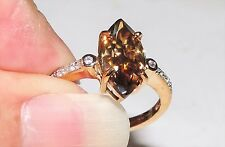 Solid 9K Gold Cognac Moissanite Zircon Ring Size 7.25 TCW 3.00 cts 2.60 Grams