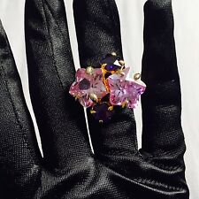 Designer Noir NYC Big Purple Stars Cz Cocktail Ring Sz 6.5