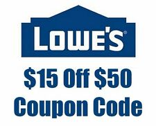 (TWO) 2x Lowes $15 OFF $50 Promo Codes ONLINE USE ONLY - 3 MINUTE E-DELIVERY
