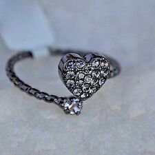 CZ Cubic Zirconia Heart Wrap Ring Black Sterling Silver Love  Bridal Valentine