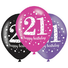 6 x 21st Birthday Balloons Black Pink Lilac Party Decorations Age 21 Balloons