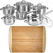 """12 Piece Cookware Set Stainless Steel Pots Pans + 1"""" Large Bamboo Cutting Board"""