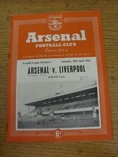 10/04/1954 Arsenal v Liverpool  (Faint Crease, Neat Match Details Noted On Cover