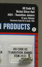 ATLAS HO CODE 83 TO 100 TRANSITION JOINERS nickel silver ho train track 551