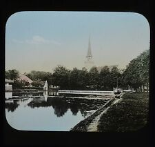 Dutch Colour Glass Magic Lantern Slide Volendam Canal Netherlands