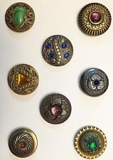 GORGEOUS CARD OF 8 ANTIQUE GLASS IN METAL GAY 90'S & JEWEL BUTTONS ALL DIFFERENT