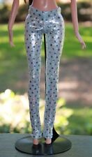 Clothes for Barbie Doll. Silver sparkles leggings for Dolls.