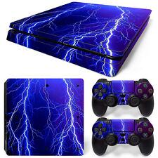 Sony PS4 Playstation 4 Slim Skin Aufkleber Schutzfolie Set - Lightning Motiv