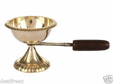 Handmade Traditional Indian Brass Oil Lamp Arti Diya With Wooden Handel Small