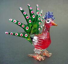 Glass PEACOCK Coloured Bird Decorative Glass Ornament Figurine Glass Animal Gift