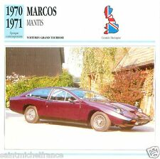 MARCOS MANTIS 1970 1971 CAR VOITURE GREAT BRITAIN GRANDE BRETAGNE CARD FICHE