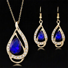 Fashion Crystal Rhinestone Gold Plated Necklace Earring Set Wedding Jewelry Sets
