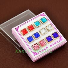 fashion 6 Pairs Mixed Color Lovely Imitation gemstones square Earrings ED426