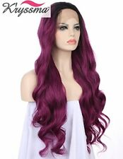 K'ryssma Fashion Long Ombre Purple Wavy Wigs Soft Synthetic Lace Front Hand Tied