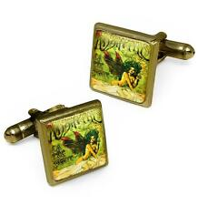 Victorian Absinthe Fairy Art Nouveau Antique Bronze Glass Cufflink Set w/ Box