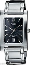 Casio Beside Mens BEM100D-1A Stainless Steel Analog Dress Watch 50M Black Dial