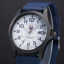 Mens Date Stainless Steel Military Sports Analog Quartz Army Wrist Watch Blue