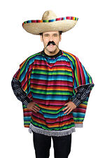 Mens Stripy Mexican Poncho Fancy Dress Costume Mexico Party Outfit Brand New