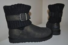 NIB Women's UGG Cambridge Metallic Black Suede Boot #1006738 Belted & Knit 8-39