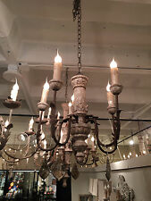 AMAZING FRENCH ANTIQUE REPRODUCTION  WOOD IRON CRYSTAL PETITE ENTRY CHANDELIER